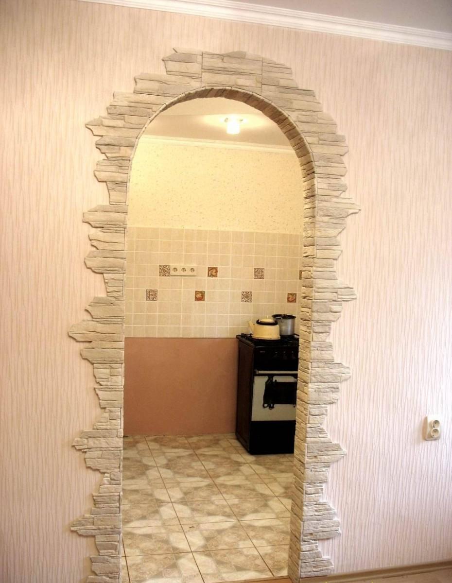 Отделка арки камнем в квартире своими руками